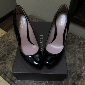 Gucci Black Patent Leather Platform Pumps